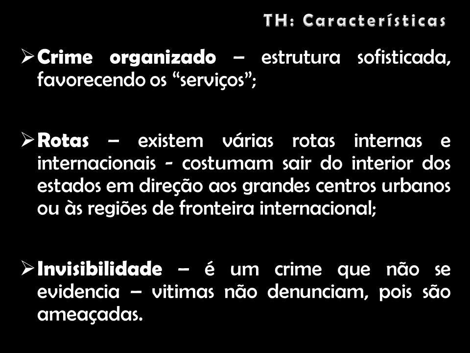 Crime organizado – estrutura sofisticada, favorecendo os serviços ;