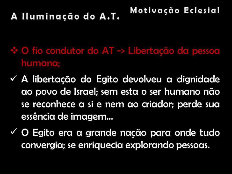 O fio condutor do AT -> Libertação da pessoa humana;