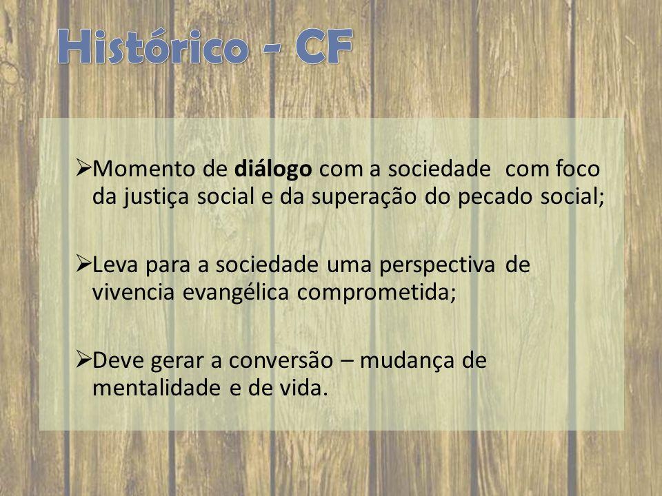 Histórico - CF Momento de diálogo com a sociedade com foco da justiça social e da superação do pecado social;