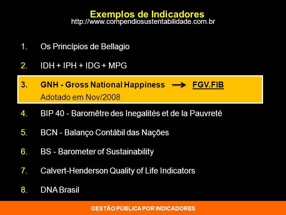 Exemplos de Indicadores GESTÃO PÚBLICA POR INDICADORES