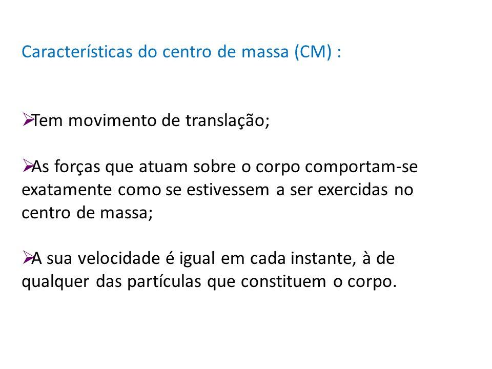 Características do centro de massa (CM) :