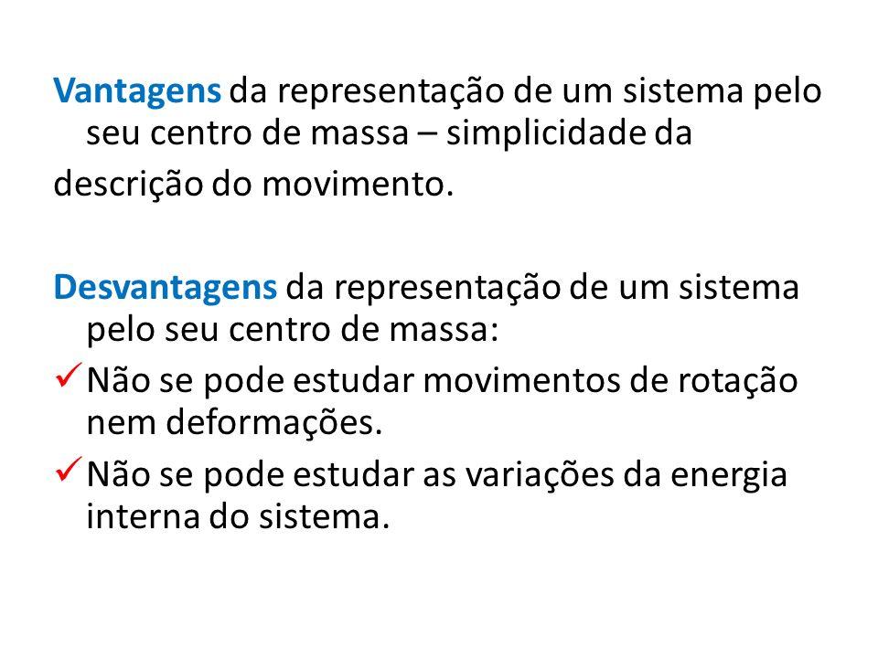 Vantagens da representação de um sistema pelo seu centro de massa – simplicidade da