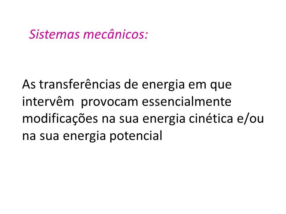 Sistemas mecânicos: As transferências de energia em que intervêm provocam essencialmente.