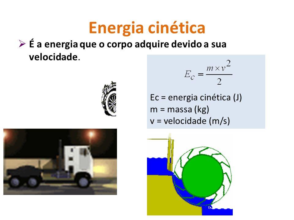 Energia cinética É a energia que o corpo adquire devido a sua velocidade. Ec = energia cinética (J)