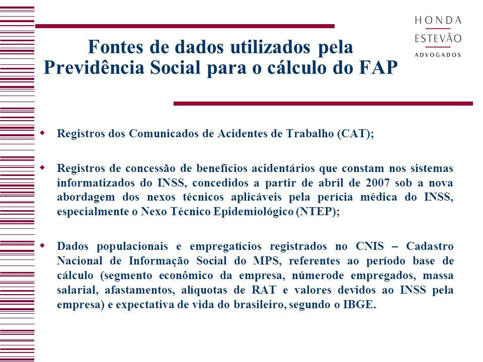 Fontes de dados utilizados pela Previdência Social para o cálculo do FAP