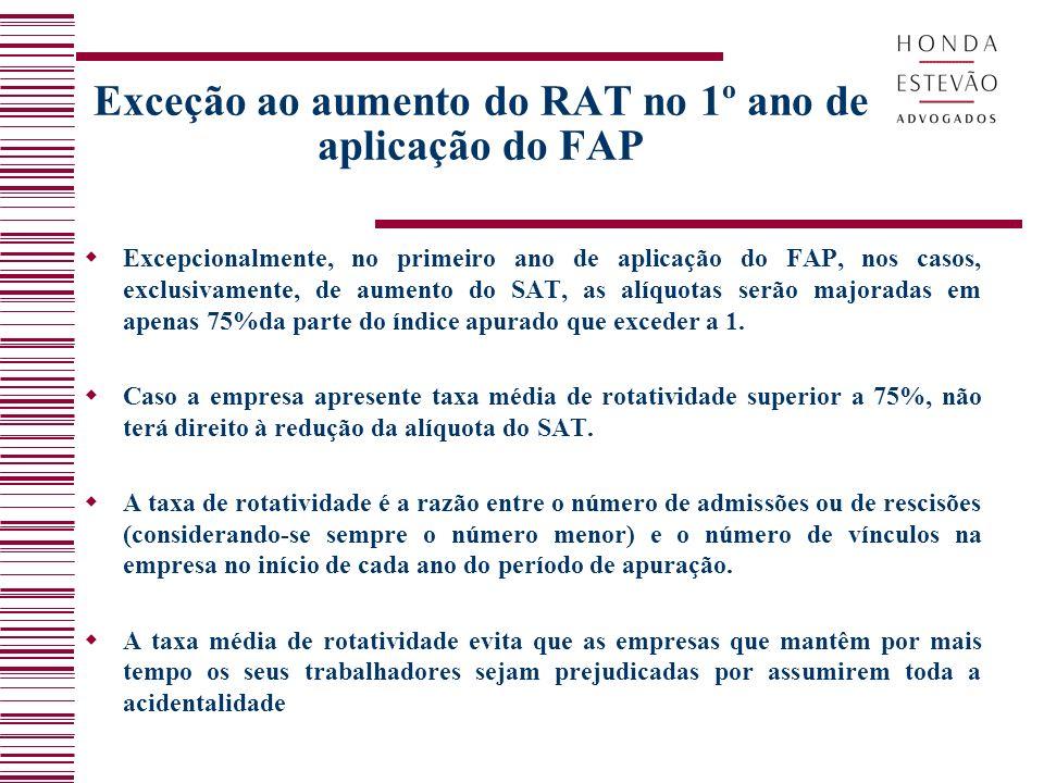 Exceção ao aumento do RAT no 1º ano de aplicação do FAP