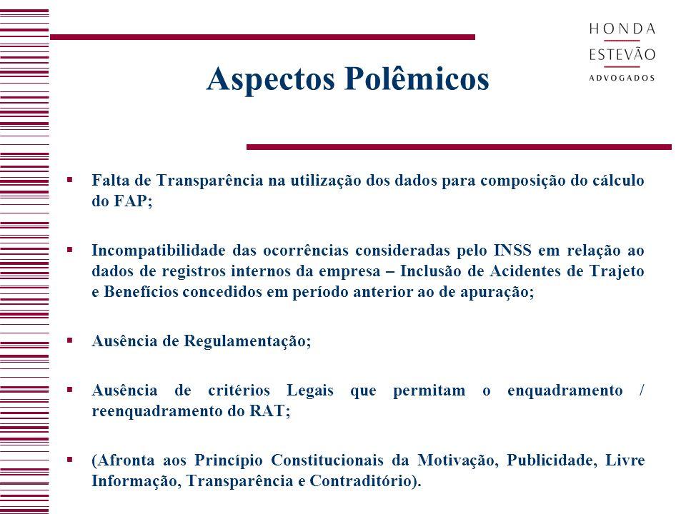 Aspectos Polêmicos Falta de Transparência na utilização dos dados para composição do cálculo do FAP;