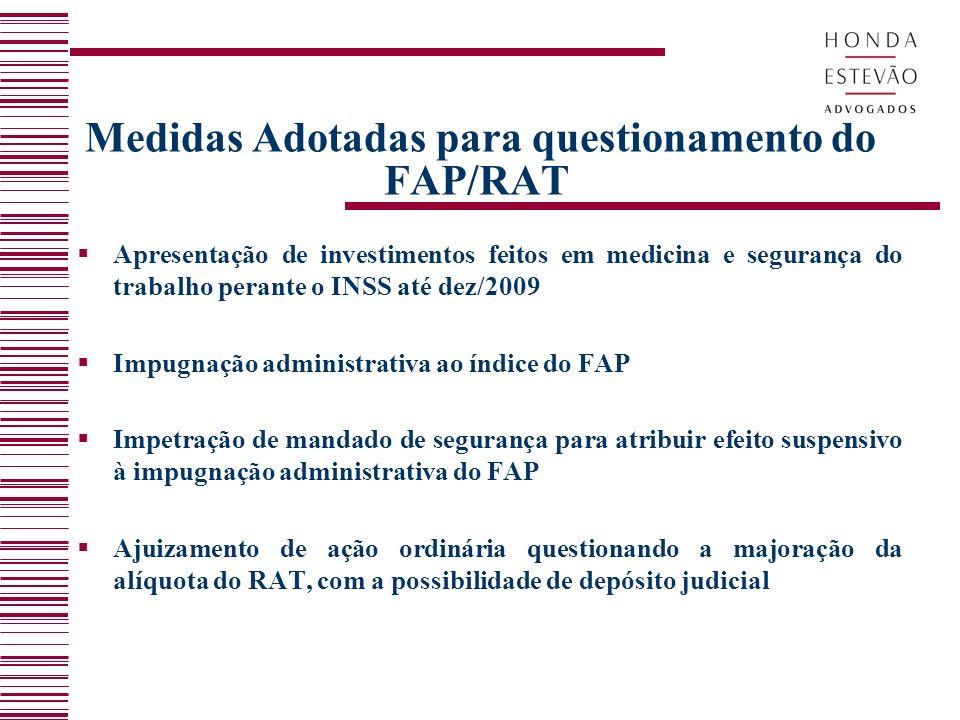 Medidas Adotadas para questionamento do FAP/RAT