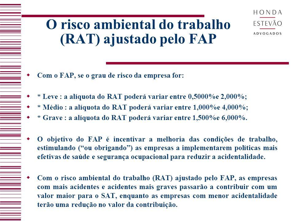O risco ambiental do trabalho (RAT) ajustado pelo FAP