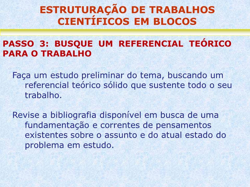 ESTRUTURAÇÃO DE TRABALHOS CIENTÍFICOS EM BLOCOS