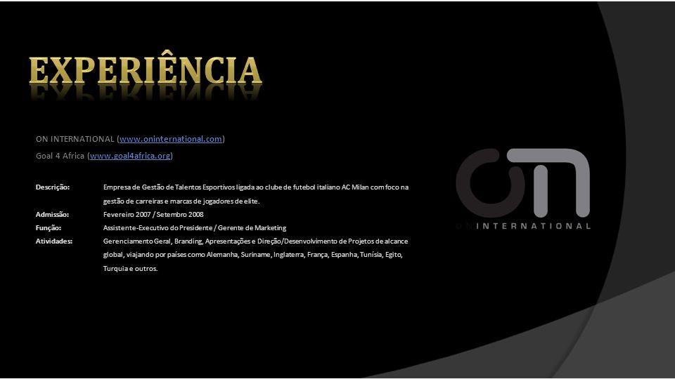 experiência ON INTERNATIONAL (www.oninternational.com)