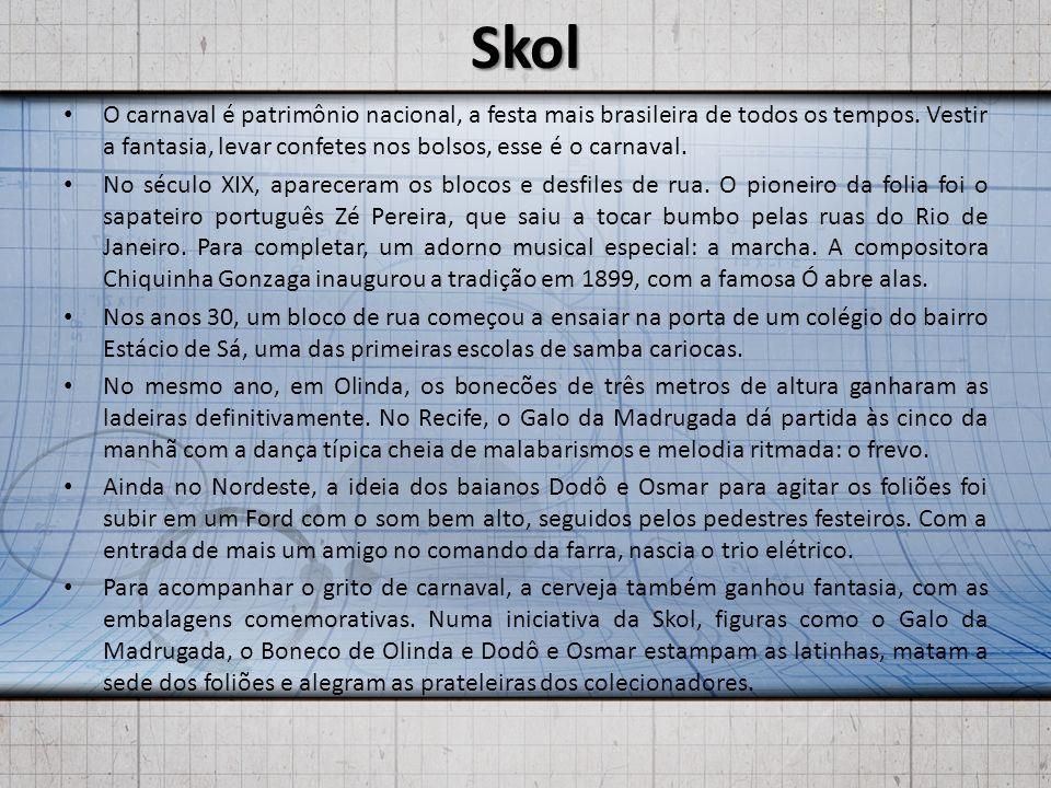 Skol O carnaval é patrimônio nacional, a festa mais brasileira de todos os tempos. Vestir a fantasia, levar confetes nos bolsos, esse é o carnaval.