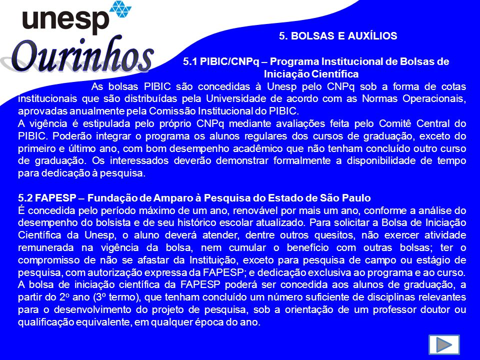 Ourinhos 5. BOLSAS E AUXÍLIOS