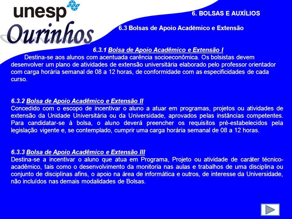 Ourinhos 6. BOLSAS E AUXÍLIOS 6.3 Bolsas de Apoio Acadêmico e Extensão