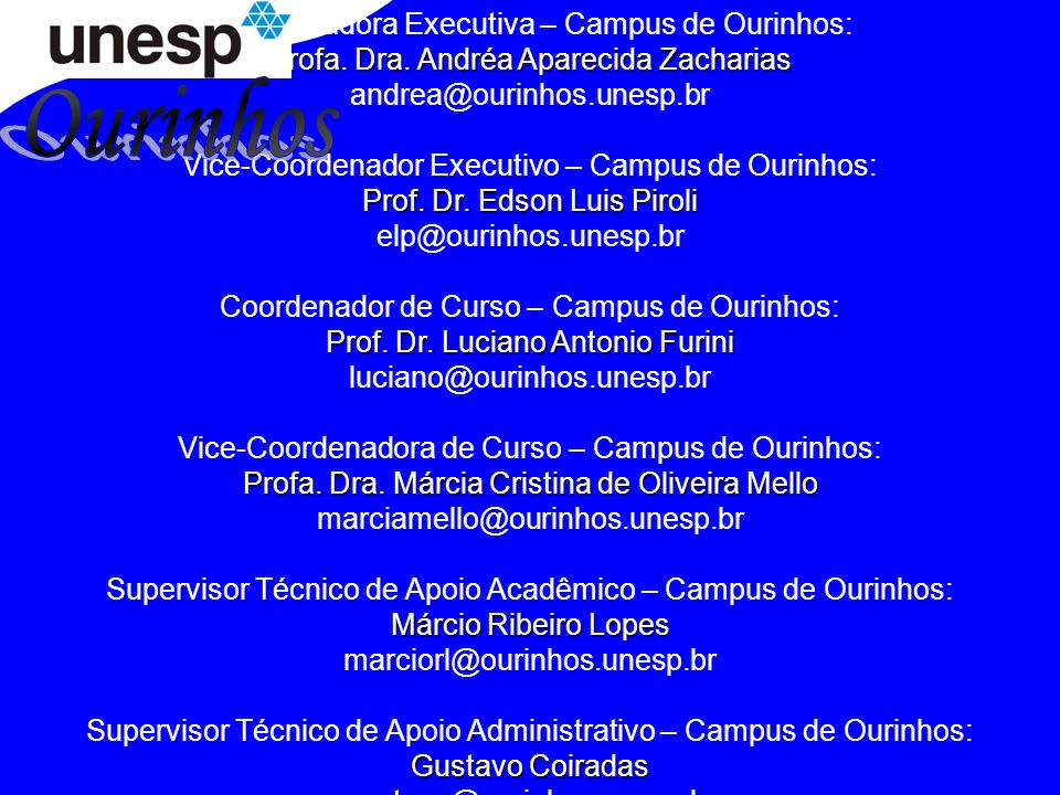 Ourinhos Coordenadora Executiva – Campus de Ourinhos:
