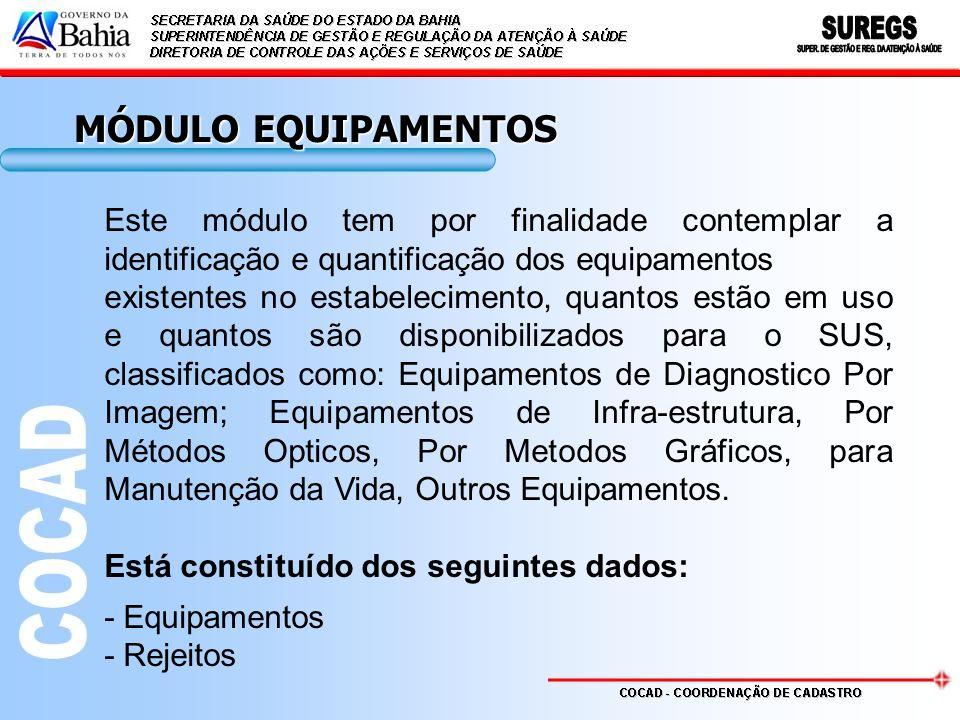 MÓDULO EQUIPAMENTOS Este módulo tem por finalidade contemplar a identificação e quantificação dos equipamentos.