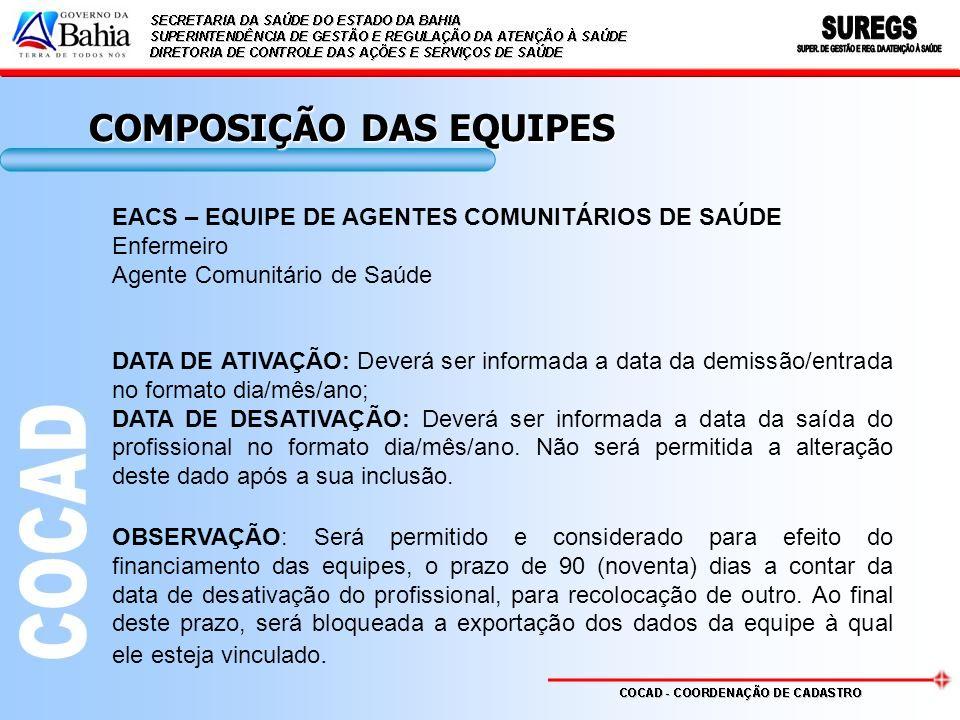 COMPOSIÇÃO DAS EQUIPES