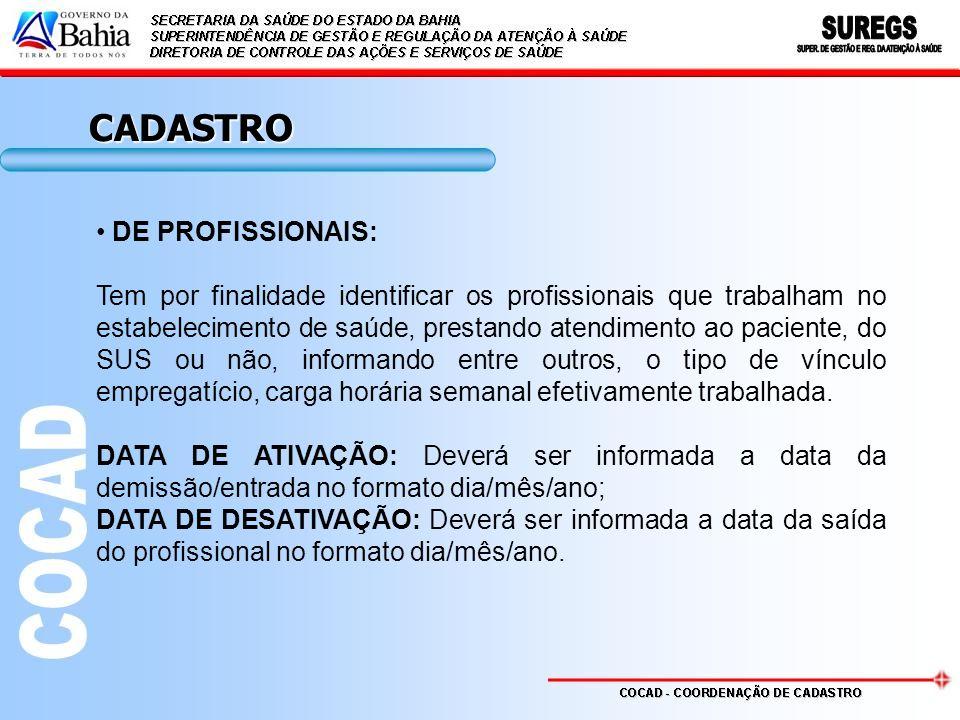CADASTRO DE PROFISSIONAIS: