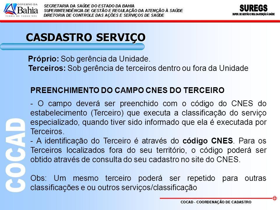 CASDASTRO SERVIÇO Próprio: Sob gerência da Unidade.