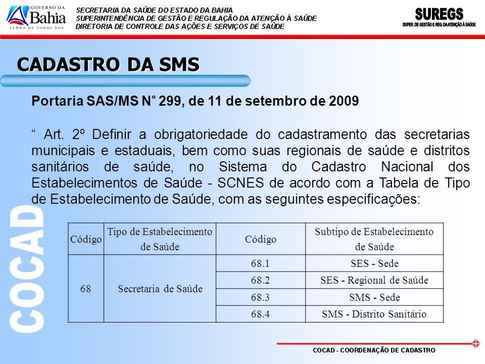 CADASTRO DA SMS Portaria SAS/MS N° 299, de 11 de setembro de 2009