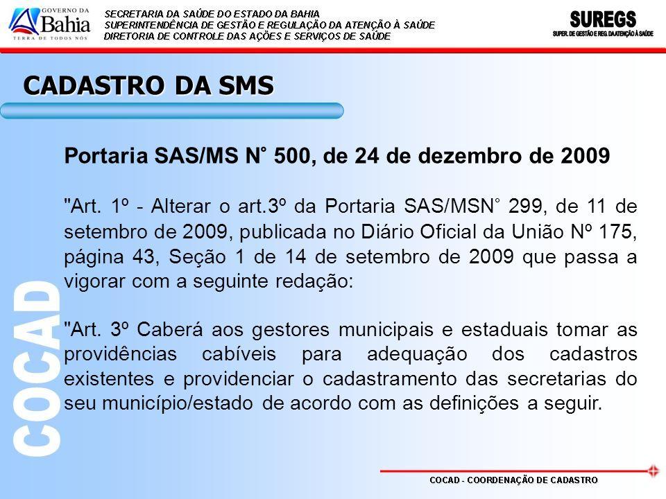 CADASTRO DA SMS Portaria SAS/MS N° 500, de 24 de dezembro de 2009