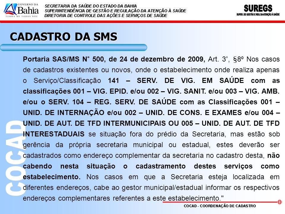 CADASTRO DA SMS