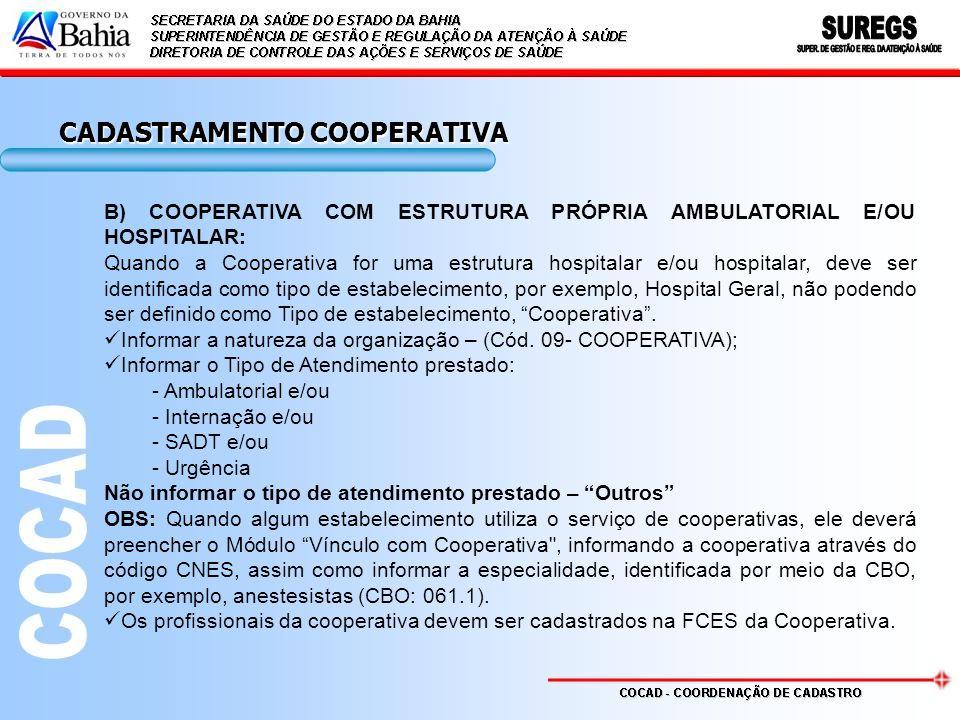CADASTRAMENTO COOPERATIVA