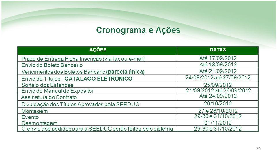 Cronograma e Ações AÇÕES. DATAS. Prazo de Entrega Ficha Inscrição (via fax ou e-mail) Até 17/09/2012.