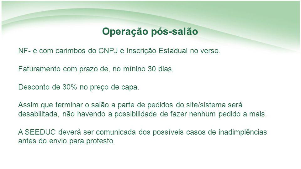 Operação pós-salão NF- e com carimbos do CNPJ e Inscrição Estadual no verso. Faturamento com prazo de, no mínino 30 dias.
