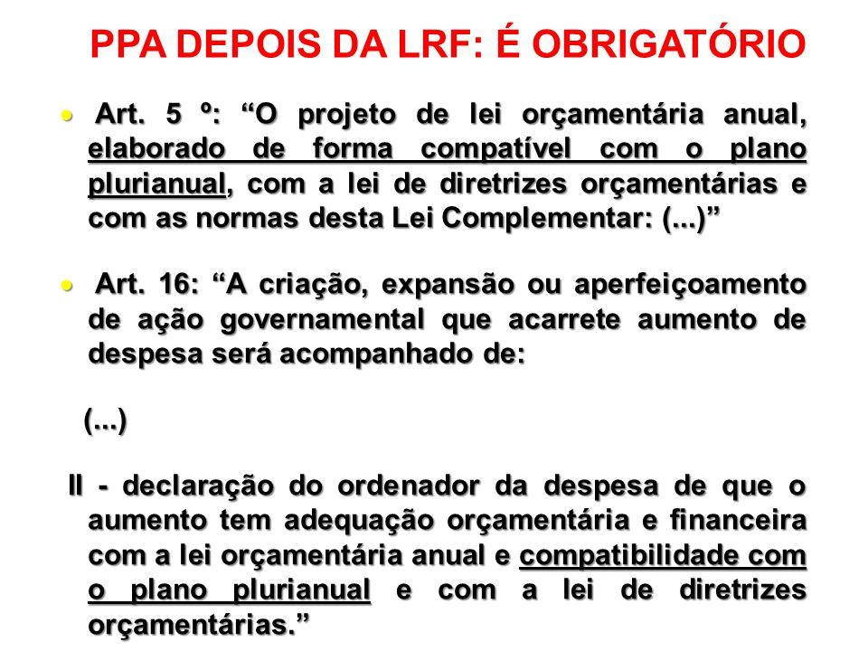 PPA DEPOIS DA LRF: É OBRIGATÓRIO