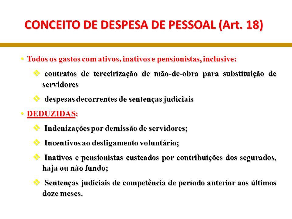 CONCEITO DE DESPESA DE PESSOAL (Art. 18)