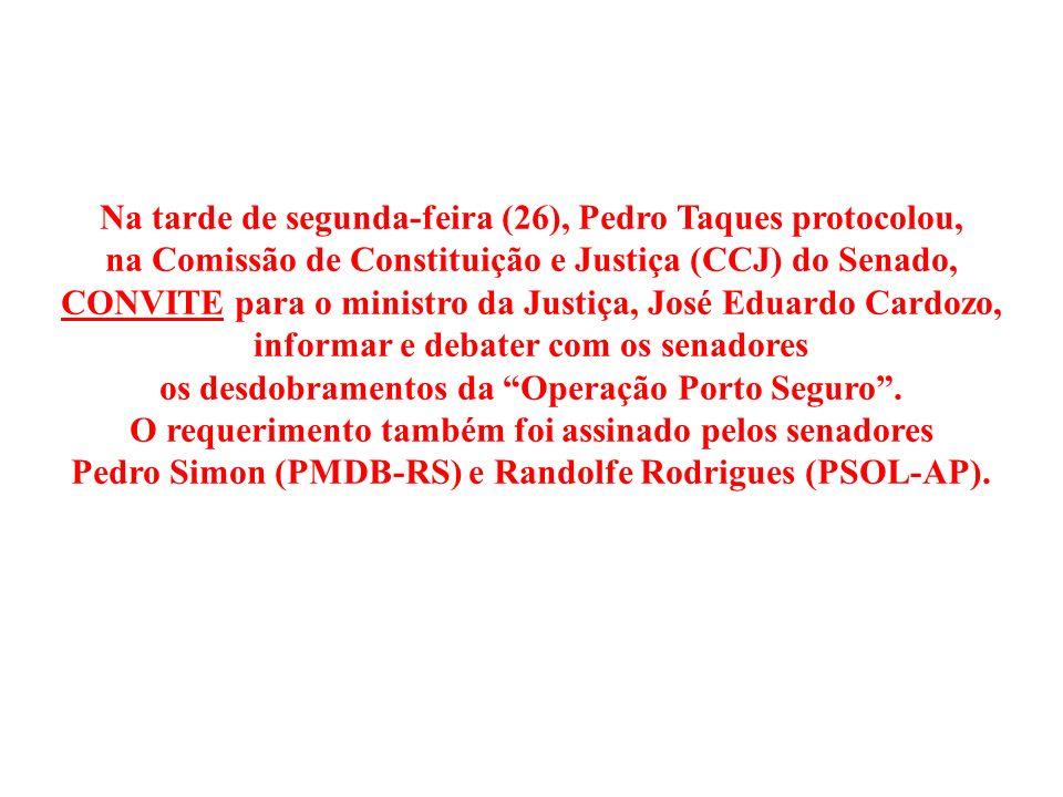 Na tarde de segunda-feira (26), Pedro Taques protocolou,