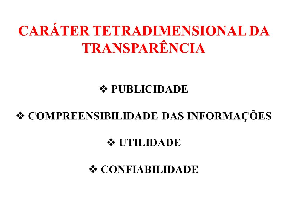 CARÁTER TETRADIMENSIONAL DA TRANSPARÊNCIA
