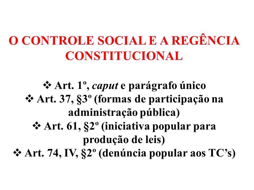 O CONTROLE SOCIAL E A REGÊNCIA CONSTITUCIONAL