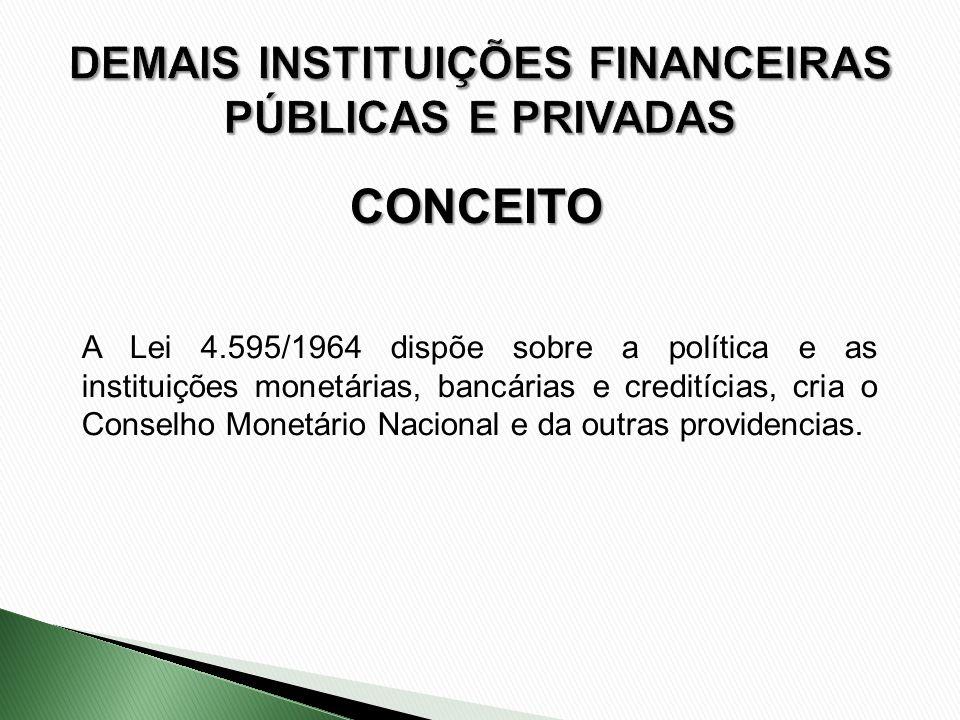 DEMAIS INSTITUIÇÕES FINANCEIRAS PÚBLICAS E PRIVADAS