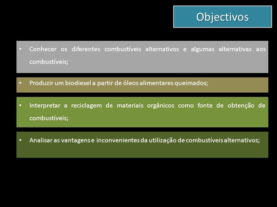 Objectivos Conhecer os diferentes combustíveis alternativos e algumas alternativas aos combustíveis;
