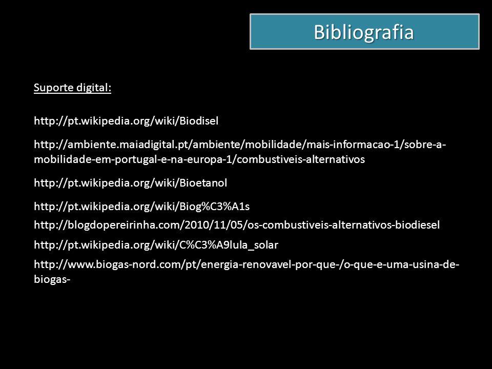 Bibliografia Suporte digital: http://pt.wikipedia.org/wiki/Biodisel