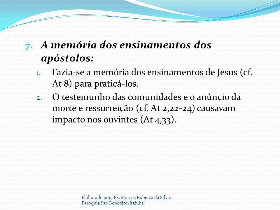A memória dos ensinamentos dos apóstolos: