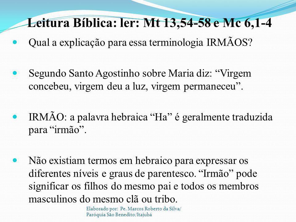 Leitura Bíblica: ler: Mt 13,54-58 e Mc 6,1-4