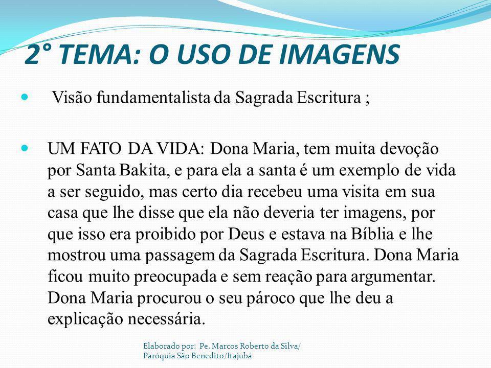 2° TEMA: O USO DE IMAGENS Visão fundamentalista da Sagrada Escritura ;