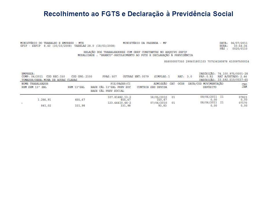 Recolhimento ao FGTS e Declaração à Previdência Social