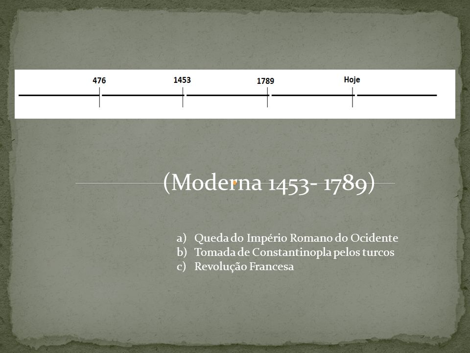 (Moderna 1453- 1789) Queda do Império Romano do Ocidente
