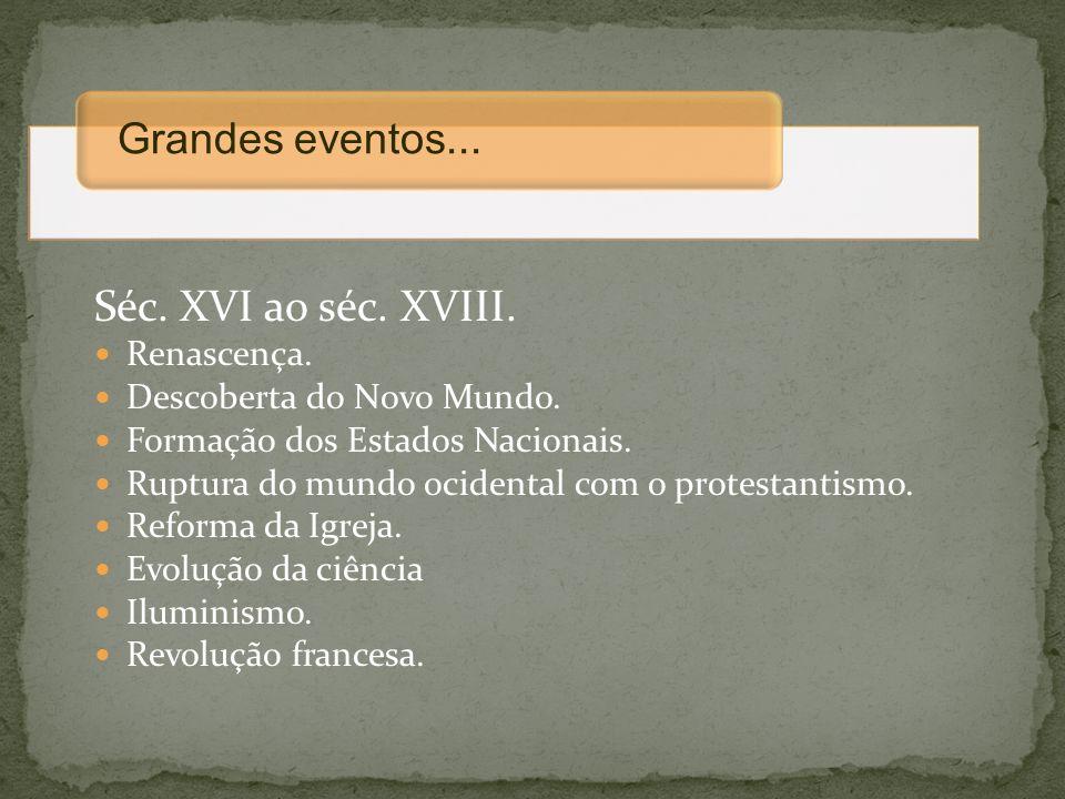 Séc. XVI ao séc. XVIII. Grandes eventos... Renascença.
