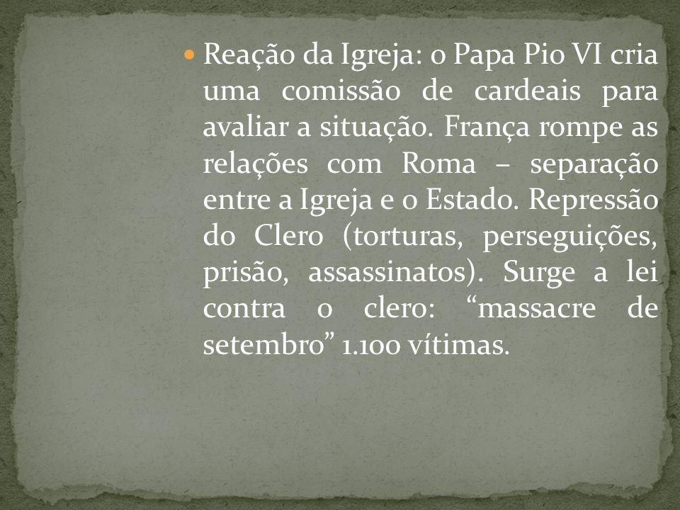 Reação da Igreja: o Papa Pio VI cria uma comissão de cardeais para avaliar a situação.