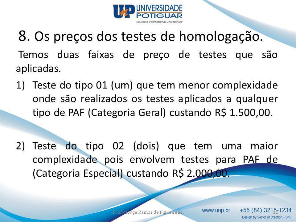 8. Os preços dos testes de homologação.