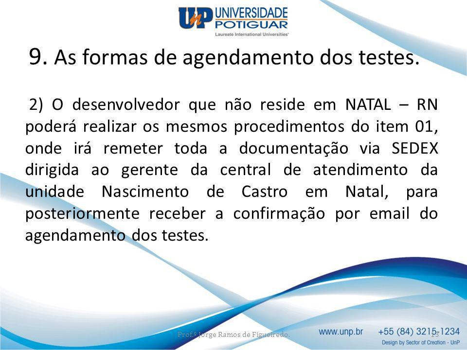 9. As formas de agendamento dos testes.