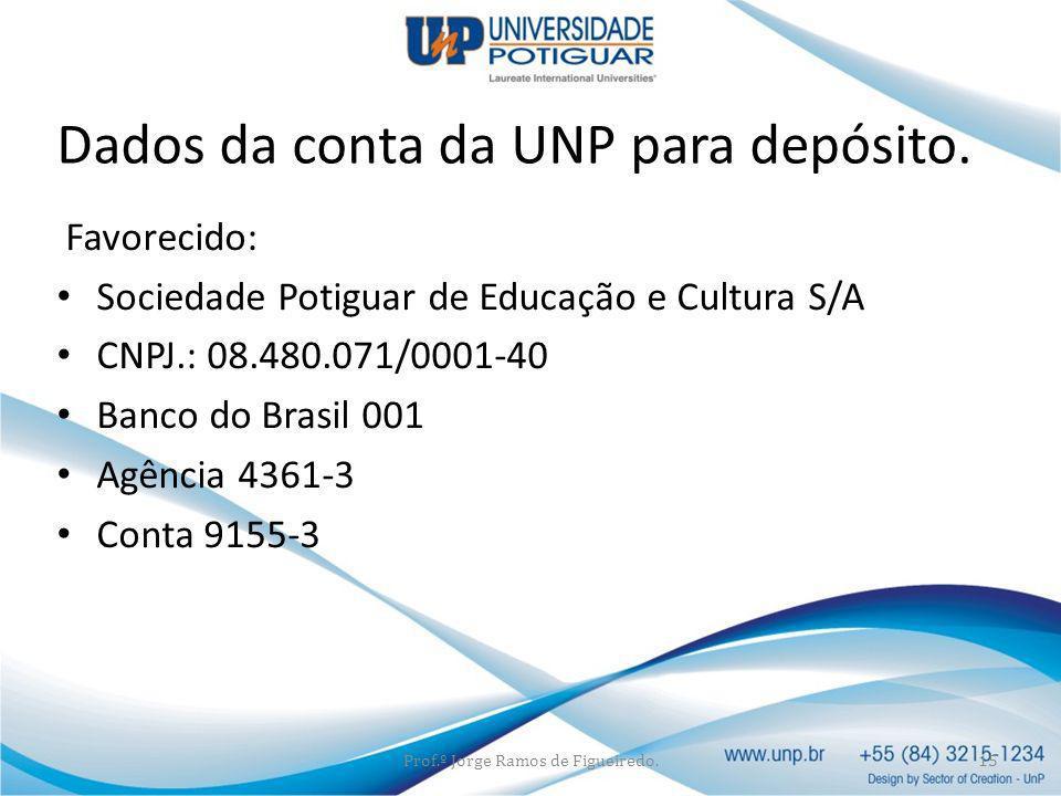 Dados da conta da UNP para depósito.