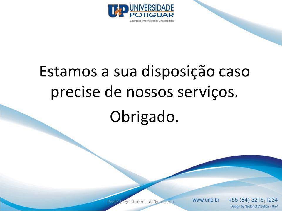 Estamos a sua disposição caso precise de nossos serviços. Obrigado.