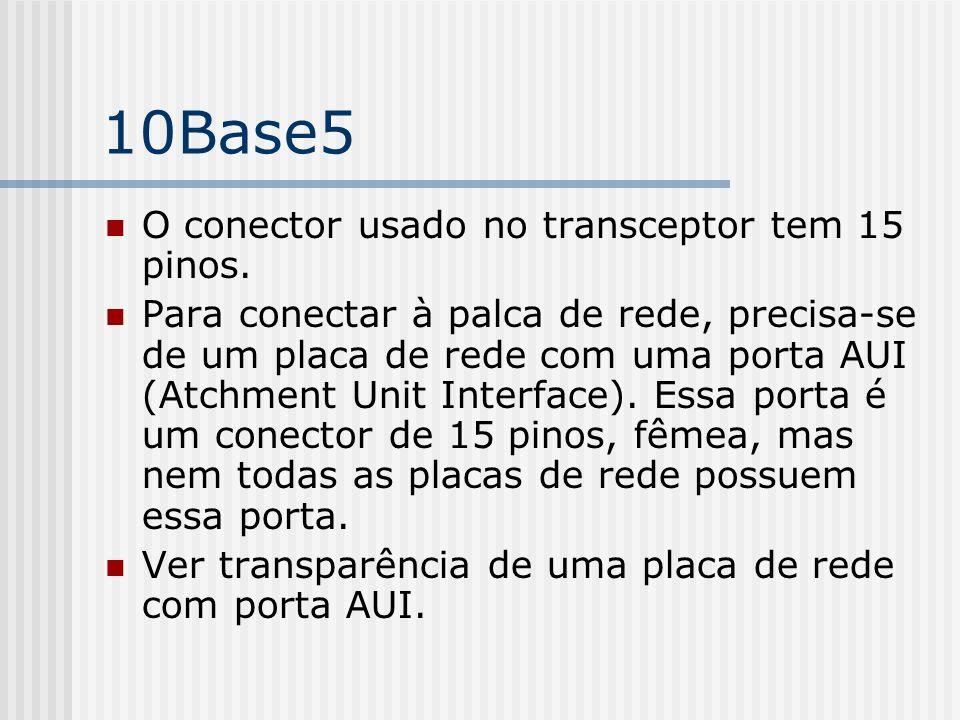 10Base5 O conector usado no transceptor tem 15 pinos.