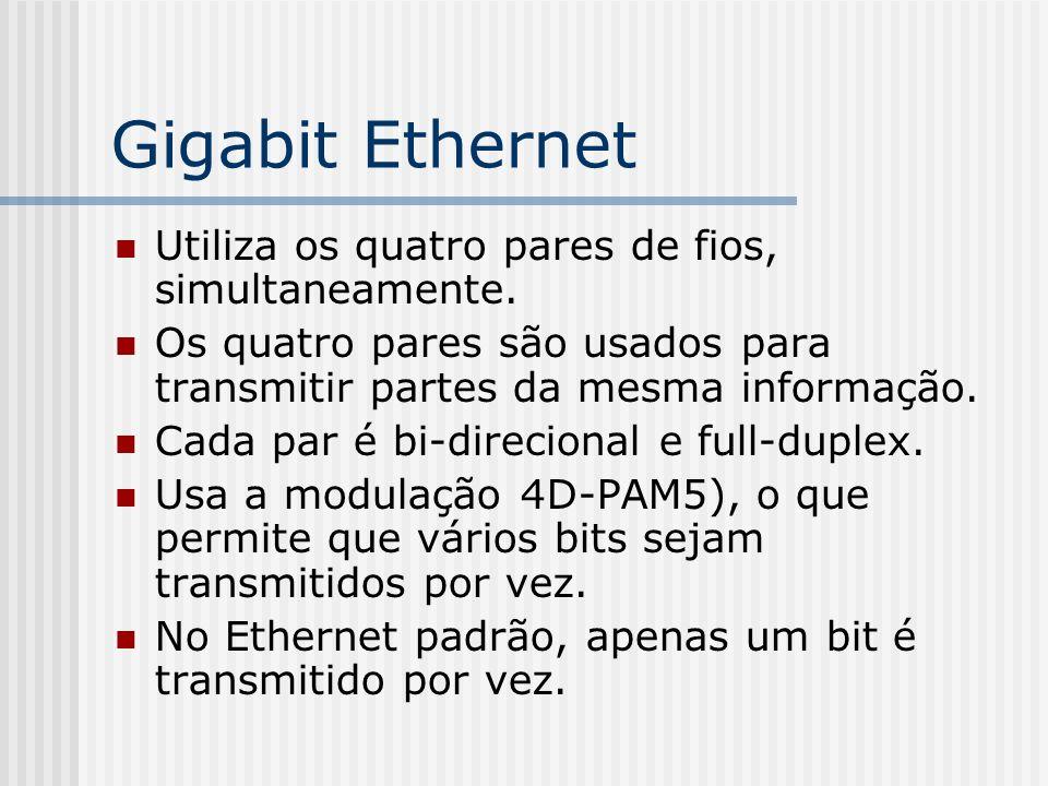 Gigabit Ethernet Utiliza os quatro pares de fios, simultaneamente.